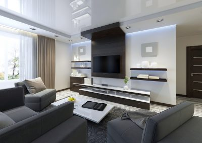Audio system with TV and shelves in the living room Contemporary